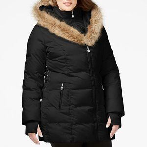 Betsey Johnson Faux-Fur-Trim Quilted Puffer Coat